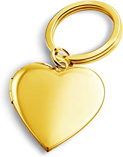 Gold Plated Heart Keychains for Women Locket Necklace That Holds Pictures Key Chain for Mens