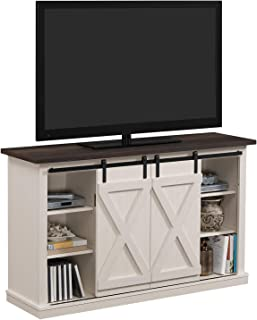 Simple Living Products Industrial 54'' TV Stand - Antique Rustic Look - Sliding Doors - Vintage Design (Off-White with Pine Top)