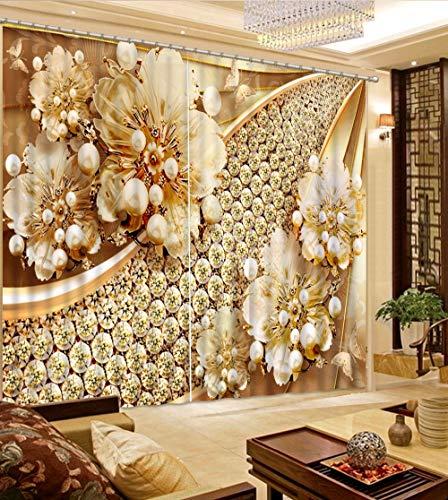 NBVGHJ Cortinas 3D de Lujo Decoración de Ventana Fondo Cortinas 3D para Sala de Estar Dormitorio Cortinas Hermosas de joyería (W) 500 × (H) 300cm