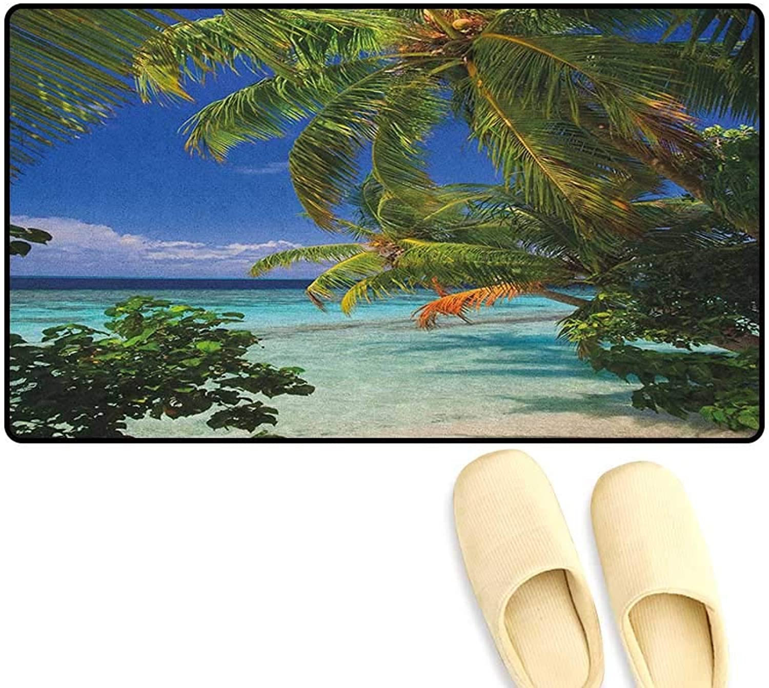 Zojihouse Plant Door Mats for Inside Bathroom Non Slip Backing Tropical Paradise at Maldives with Palms bluee Sky Beautiful Beaches Tranquility Size 24 x36  Sky bluee Green