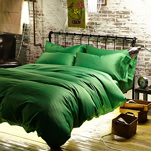 Newrara Luxury Linen Cotton Satin Solid Color Emerald-green Duvet Cover Bed Sheets Set Queen/king