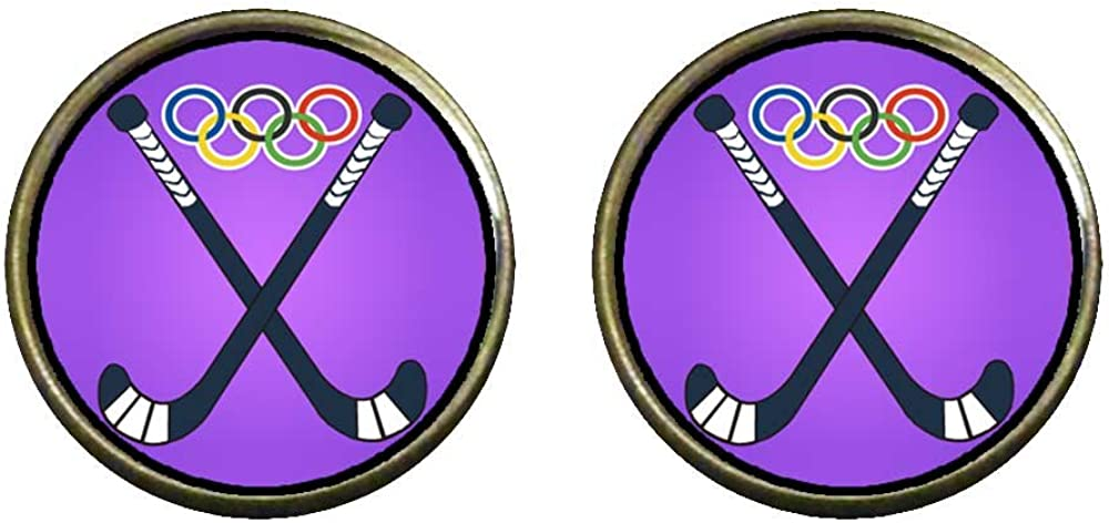 GiftJewelryShop Bronze Retro Style Olympics Hockey competition Photo Clip On Earrings 14mm Diameter