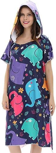 Natation Peignoir ChangeHommest de serviette de bain Robe de poncho pour adultes Peignoir de plage à séchage rapide et à capuchon pour adulte - Taille unique Unisexe Surf Poncho