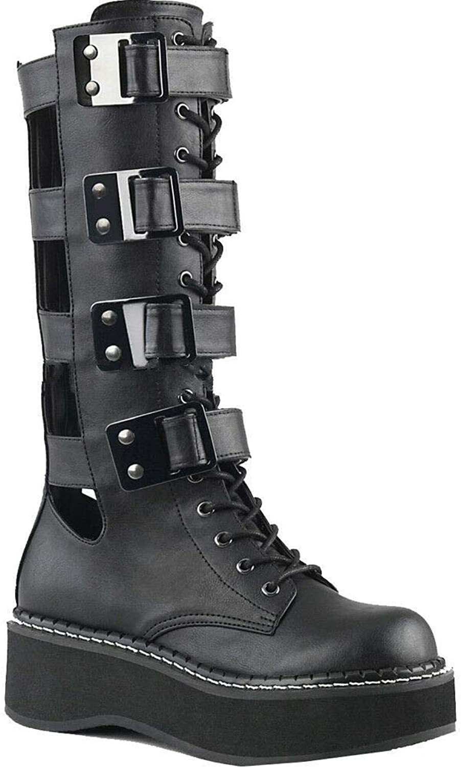 Demonia 2 Inch Platform Knee High Lace-Up Boot, Metal Back Zip