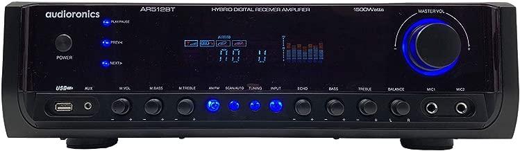 Audioronics AR512BT Digital Spectrum Bluetooth Integrated Amplifier & Pre-Amp Stereo Recevier w/ 1500-Watts Peak Power