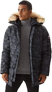PUREMSX Down Alternative Jacket, Men's Insulated Expedition Mountain Thicken Lined Fur Hooded Long Anorak Parka Padded Coat
