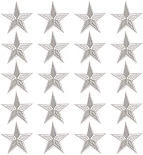 Star Iron On Patches Sew On Embroidered Badge Applique Patch with Star Motif Applique Stickers DIY for Shoes,Hats,Clothes(20 Pcs Silver Star)
