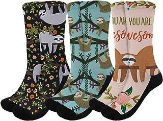 Unisex Funny Softness Crazy Crew Socks Comfortable Breathable Sloth Themed Socks