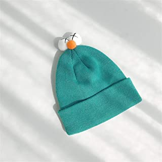 ZiWen Lu Ins Paternity Wool hat Boys Girls Double Knit Cap hat Autumn and Winter Female Cute Decorative Eye Sesame Street (Color : Turquoise, Size : One Size)