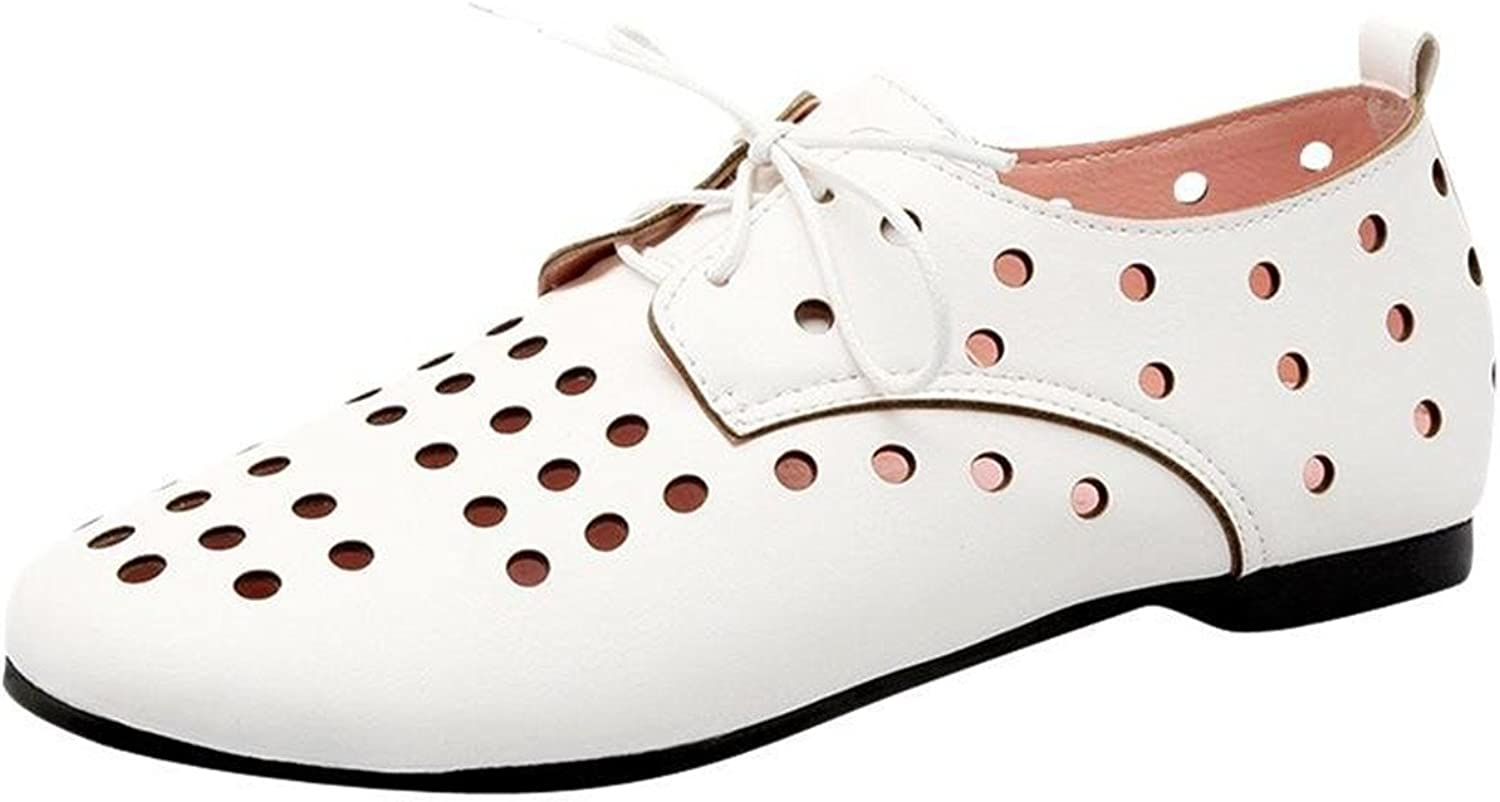 Davikey Womens Fashion Hollow Out Lace-up Comfort Summer Flat Oxford shoes