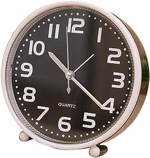 PETSOLA 12,7 cm godisfärgad bärbar väckarklocka med nattlampa tyst tyst tyst rörelse – svart