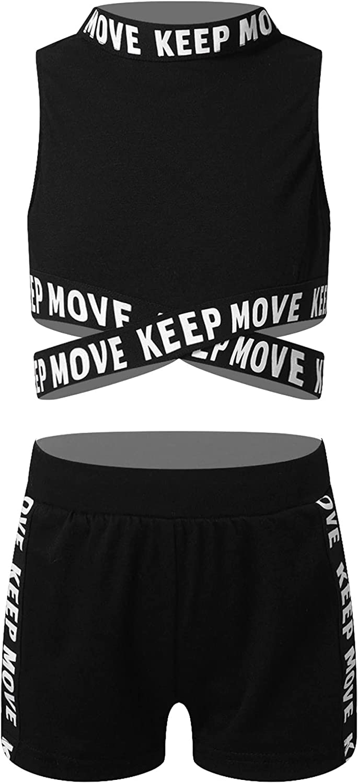 Choomomo Kids Girls Activewear Sports Suit Gymnastics Dance Workout Tank Top and Shorts Set