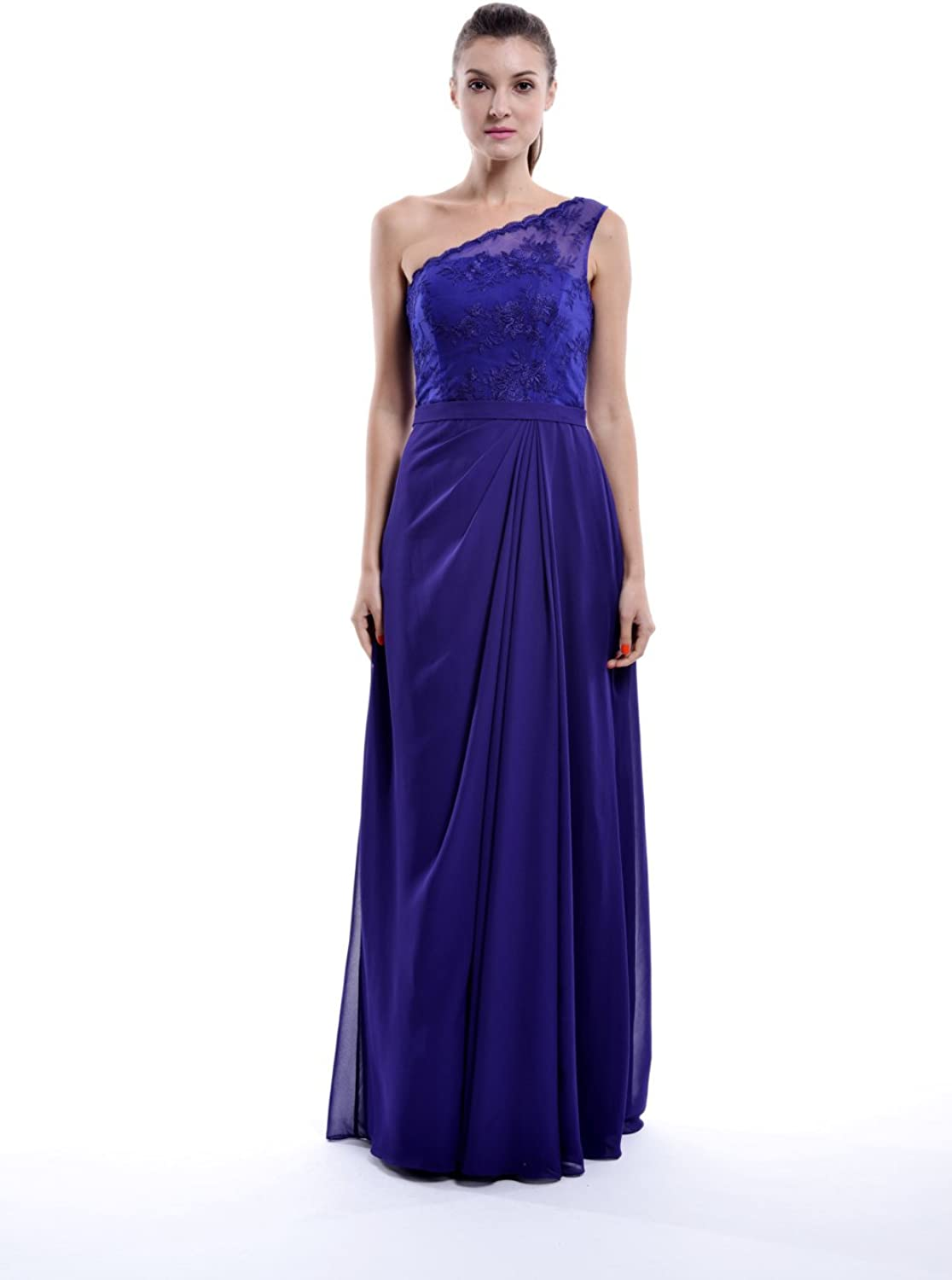 Vampal One Shoulder Asymmetrical Draped Column Bridesmaid Dress With Lace Top