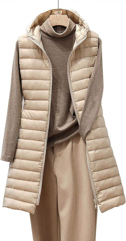 CCOOfhhc Chaleco largo de plumón para mujer, sin mangas, con capucha, grande, para invierno, ligero, con bolsillos, chaleco acolchado a prueba de viento, chaqueta de plumón plegable