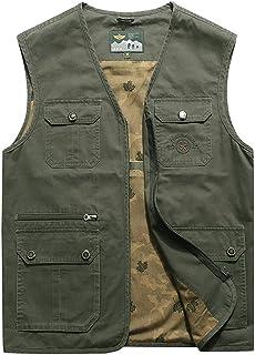 ポケットベスト春と秋の薄いセクション中年と男性のカジュアルなVネックベストマルチポケットベストと綿のベスト (色 : アーミーグリーン, サイズ さいず : 2XL)