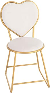 Mecor Vanity Stool with Cushioned Back, Makeup Dressing Bench Gold Metal Legs,Microfiber Upholstery Padded Vanity Seat White
