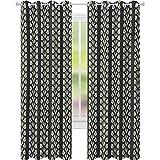Cortinas opacas para dormitorio, líneas onduladas verticales de hojas de primavera en la imagen de patrón ondulado, 52 x 84, cortinas opacas para habitación de niños, color negro y blanco