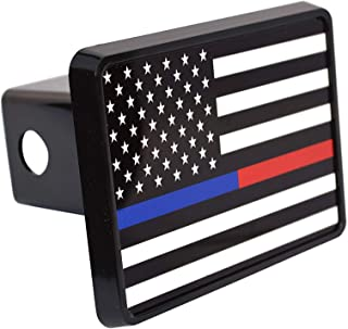 Thin Blue Red Line Lives Matter Flag Trailer Hitch Cover Plug US Police Officer Firefighter Flag