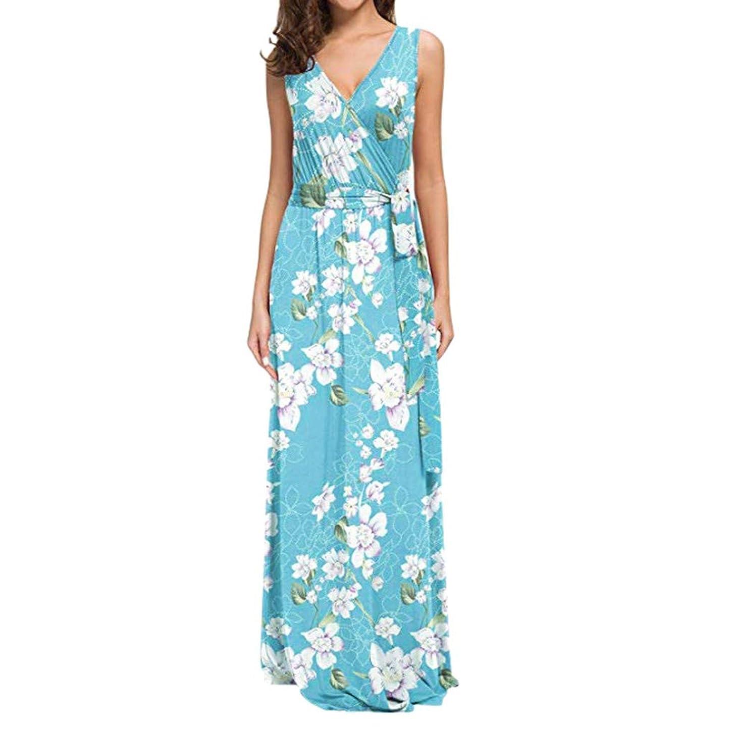Women'S Sleeveless Summer Floral Printed with Belt Maxi Casual Dress Hotkey Womens Summer Casual Sleeveless