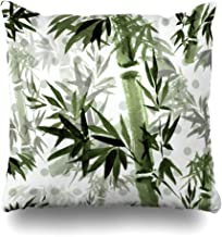 Ahawoso Throw Pillow Cover Round Floral Rustle Bamboo Wind in Eastern Plant Watercolor Ink Brush Free Abstract Pattern Design Home Decor Cushion Case Square Size 18 x 18 Inches Zippered Pillowcase