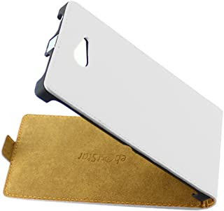 ebestStar - Funda Compatible con Sony Xperia M2 D2302 D2303 Carcasa Ventana Vista Cover Cuero PU, Funda Libro Billetera, Blanco [Aparato: 139.7 x 71.1 x 8.6mm, 4.8'']