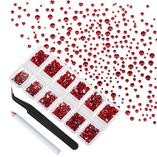 4200 Pieces Flat Back Red Rhinestones for Craft, Round Crystal Gems Stickers for Clothes, 1.5 mm - 4.8 mm, 6 Sizes
