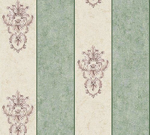 Architects Paper Vliestapete Luxury Classics Tapete barock gestreift 10,05 m x 0,53 m beige grün metallic Made in Germany 343715 34371-5