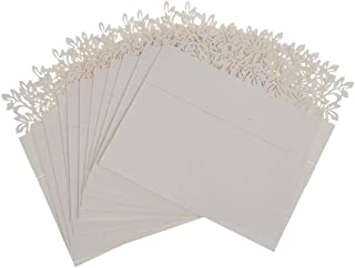 H&D Flower Laser Cut Wedding Party Name Setting Place Cards Table Decoration (Ivory, 120pcs/ 10bags)