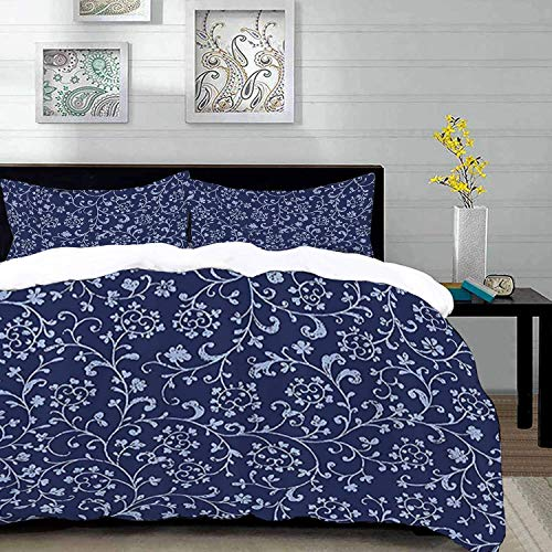 Floral Stall,Victorian Baroque Style Classic Swirled Flowers with Damask Effects Pattern,Navy B,Microfibre Duvet Cover Set 230 x 220cm with 2 Pillowcase 50 X 80cm