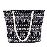 Neuleben Strandtasche mit Reißverschluss Damen Groß Shopper Fashion Tasche (Schwarz)