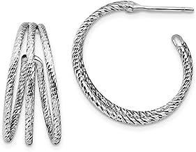 925 Sterling Silver Diamond-Cut J-Tube Hoop Earrings - 23mm x 24mm