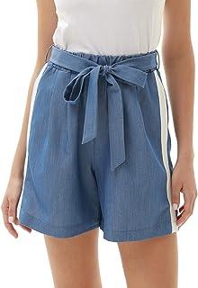 GRACE KARIN Women's Casual Comfy Bowknot Elastic Waist Shorts Stripes Summer Beach Shorts with Pockets