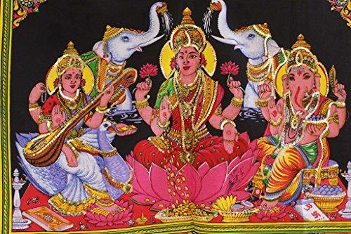 Mango Gifts - Tapiz de algodón con lentejuelas, diseño de diosa Ganesh, Laxmi/Lakshmi y Saraswati, 78,7 x 101,6 cm
