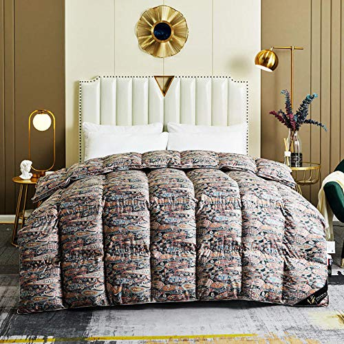 Hahaemall King Size Feather Duvet Double Size Duvet - 100% Cotton Down Proof Fabric Anti-Dust Mite & Feather-Proof Fabric All Season - For All Season-D_200X230Cm-1Kg