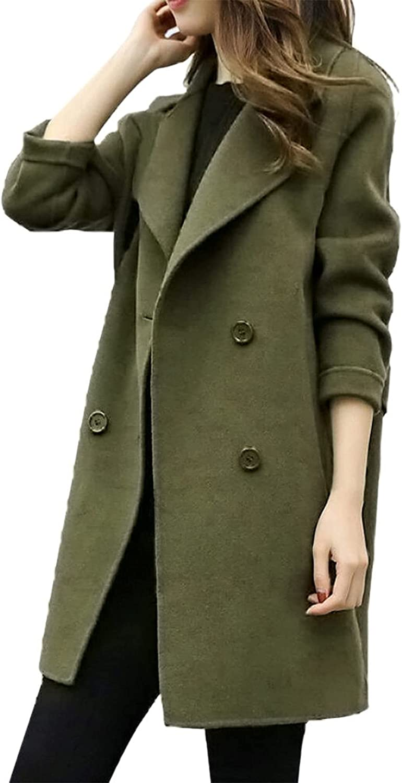 women's woolen coat jacket Double Breasted Wool Blend Over Coatmid-length solid color Lapel coat winter warmoutwear