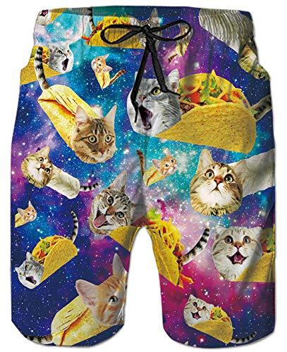 Goodstoworld Bermuda Badeshorts für Herren Junge 3D Galaxie Toca Katze Badehose Gedruckt Kordelzug Elastische Taille Strand Sporthose Swim Trunks XL