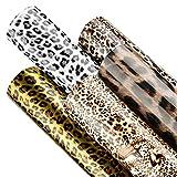 "Sov 5pcs/Set Patterned Metallic Heat Transfer Vinyl Foil HTV Craft Film Leopard Bundle Garment Clothing for T-Shirt Decoration DIY Craft Material (12"" x 9.8"")…"