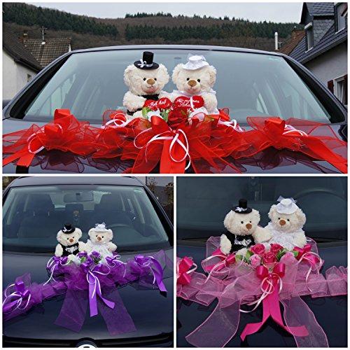tatjana-land-deko Brautauto Dekorationen Autoschmuck Hochzeitsauto Weiß Rose Autodeko Bären M15 (Rot)
