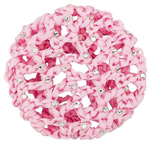 tanzmuster ® Duttnetz Ballett Kinder - Mila - Knotennetz mit Glitzersteinen für den perfekten Dutt (mit Haargummi) rosa