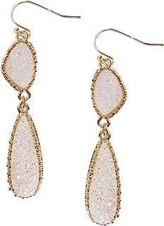 Humble Chic Simulated Druzy Drop Dangles - Long Double Teardrop Dangly Earrings for Women