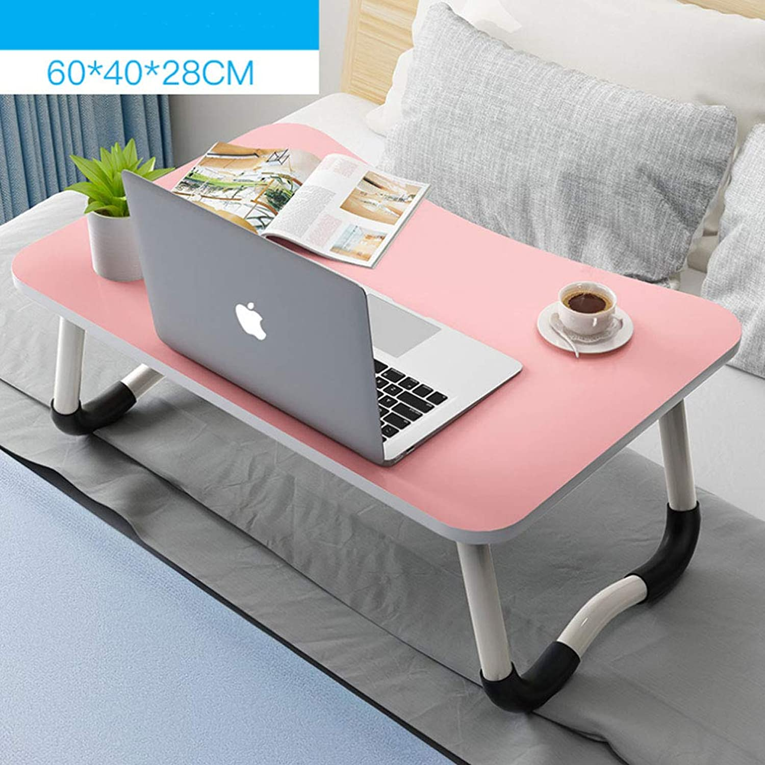 ZXW Folding Table Laptop Table Foldable Small Table Bed Desk Lazy Table Dormitory Bedroom Desk (color   Pink)
