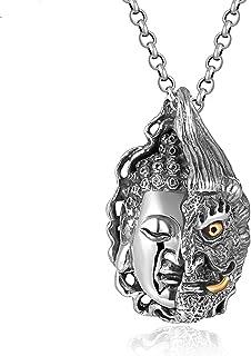 ZiFei 925 Sterling Silver Buddhism Buddha Pendant for Men Heavy Big Vintage Punk Retro Silver Process Jewelry