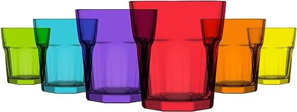 أكواب زجاجية ملونة من 6 قطع سعة 290.5 مل متعددة الألوان من لاف - خيار مثالي للمياه والمشروبات وكوكتيلات والهدايا - خالية م...