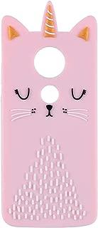 Funermei Cat Unicorn Case for Motorola Moto E5 Play/Moto E5 Cruise Silicone 3D Cartoon Animal Pink Cover,Kids Girls Cool Cute Cases,Kawaii Soft Gel Unique Character Fun Protector for Moto E5Play