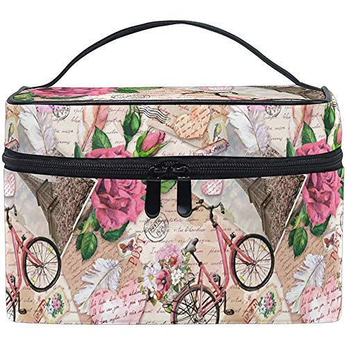 Eiffel Tower Butterfly Floral Makeup Bag Romantic Paris Flower Bicycle Toiletry Brush Carrying Portable Storage