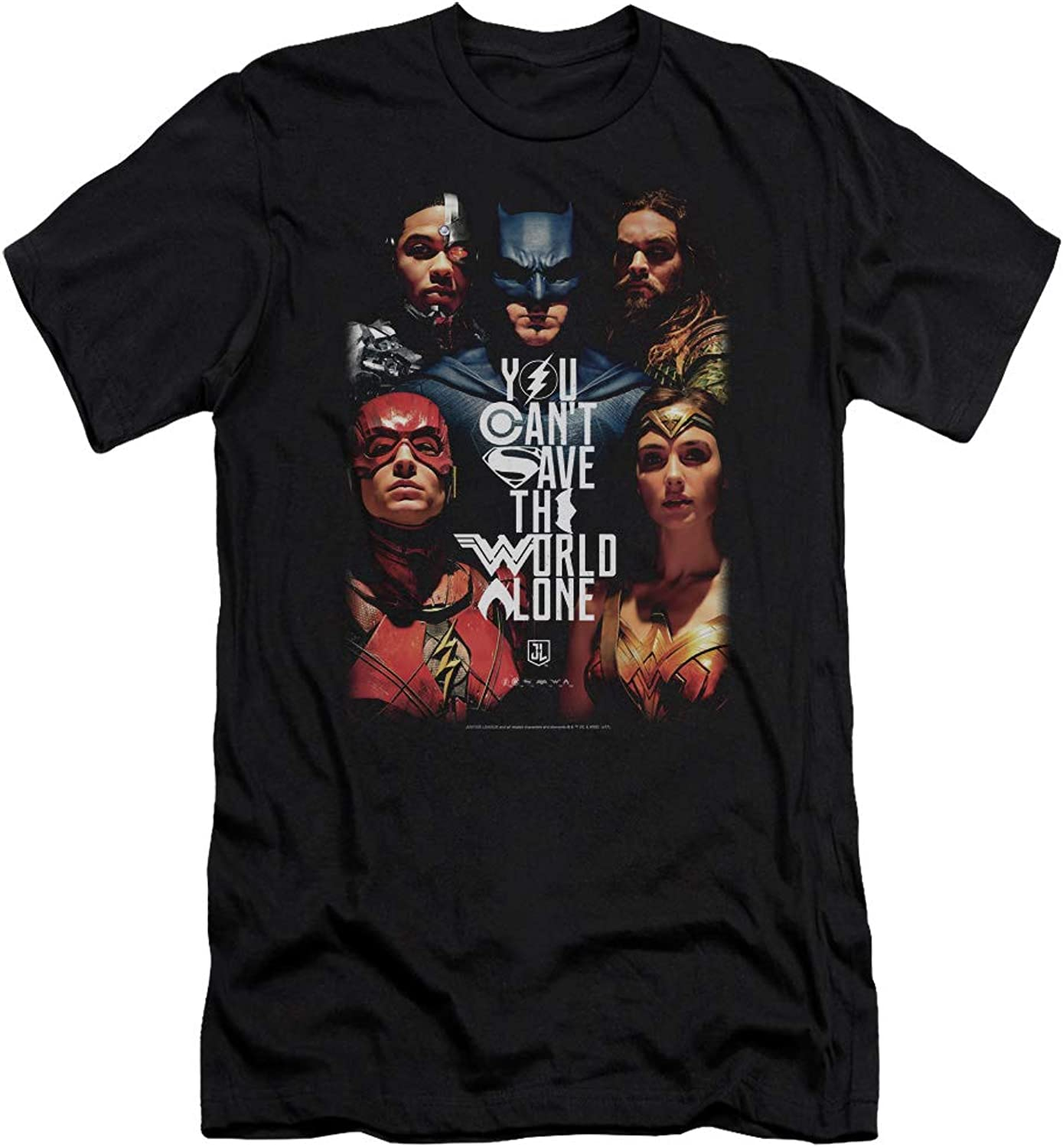 Justice League Movie - Mens Save The World Poster Slim Fit T-Shirt