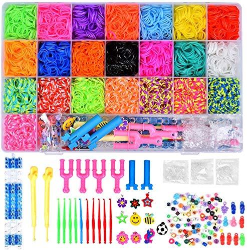 MISHAER 4400pcs Caja Pulseras Gomas, Loom Bands Bandas de Silicona para Hacer Pulseras De Colores Loom Kit para Pulseras (4400)