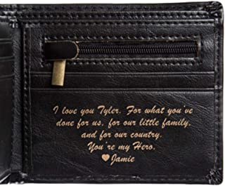 Personalized Wallet - Bifold Leather Wallet (Black Basic)