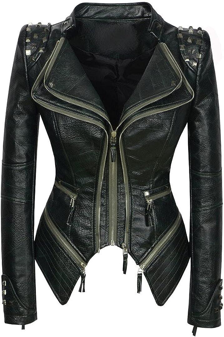 Fall/Winter Women's Faux Leather Jacket Motorcycle Rivet Coat Lapel Zipper PU Motorcycle Top