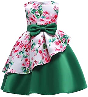 SEASHORE Girls 3-9 Years Bowknot Princess Dress Satin Flower Girl Wedding Costume Piano Performance Clothing (Color : Green, Size : 6-7Years)
